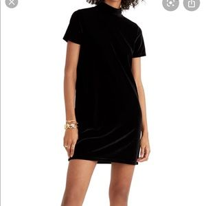 Madewell Black Velvet  Mock Neck Shift Dress